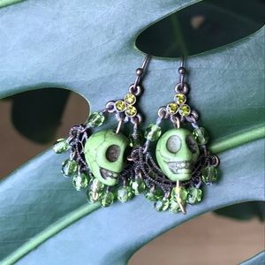 Green skull calavera earrings
